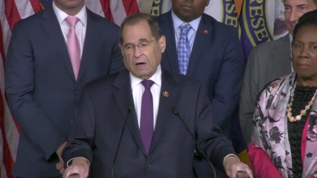 house judiciary committee chairman jerry nadler answers a reporter question at a news conference two days after public testimony by former special... - department of justice stock videos & royalty-free footage