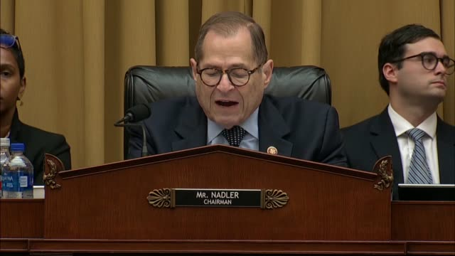house judiciary committee chairman jerry nadler says at a hearing on obstruction of justice and abuse of power that according to justice department... - department of justice stock videos & royalty-free footage