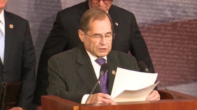 vidéos et rushes de house judiciary committee ranking member jerrold nadler of new york tells reporters at a news conference hours after justice department inspector... - conspiration