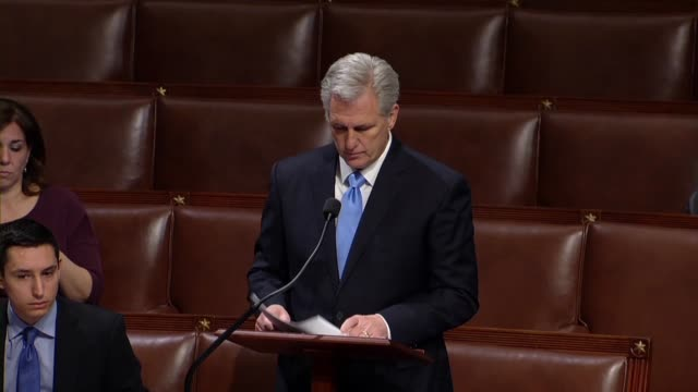 house majority leader kevin mccarthy tells minority whip steny hoyer during a floor exchange that according to data company quorum, the house has... - crumb stock videos & royalty-free footage