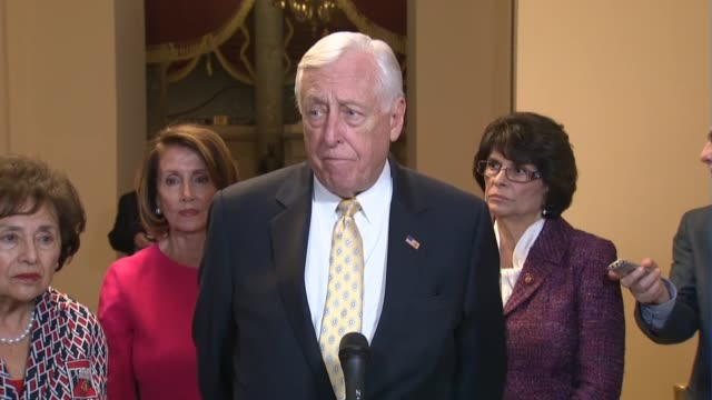 house majority leader steny hoyer of maryland tells reporters after opening the 116th congress that the house was in session late although members... - employment document stock videos & royalty-free footage