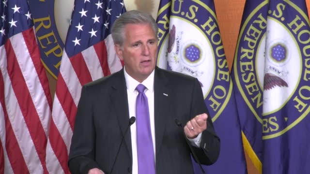house minority leader kevin mccarthy of california answers a reporter question about the announced retirement of michigan republican paul mitchell... - senate stock videos & royalty-free footage