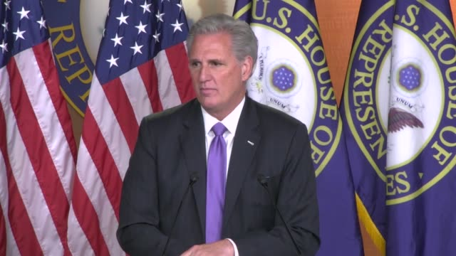House Minority Leader Kevin McCarthy of California answers a reporter question at a weekly news conference about a meeting between House Speaker...