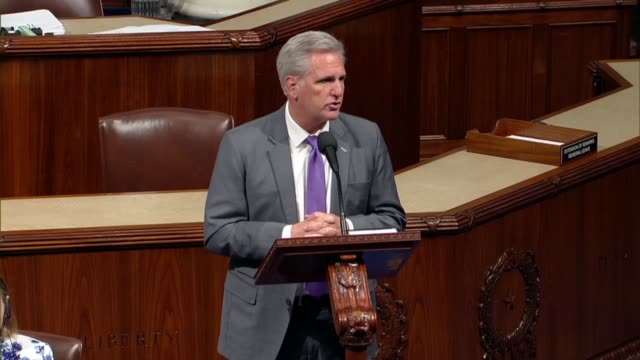house minority leader kevin mccarthy of california says after resumption of debate on a resolution condemning racist tweets of president donald trump... - nancy pelosi stock videos and b-roll footage