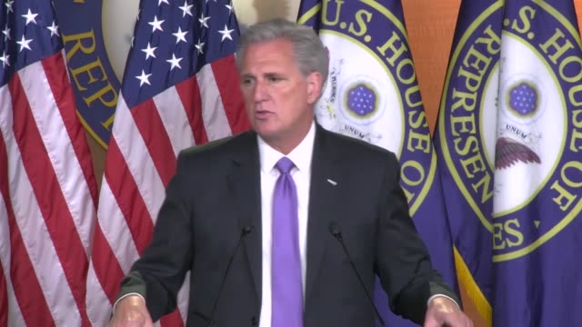 House Minority Leader Kevin McCarthy of California tells reporters at a weekly news conference that a recent poll showed the strongest endorsement...