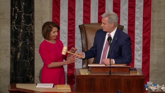 house minority leader kevin mccarthy of california with nancy pelosi but the speaker's rostrum in the house chamber on opening day of the 116th... - congress stock videos & royalty-free footage