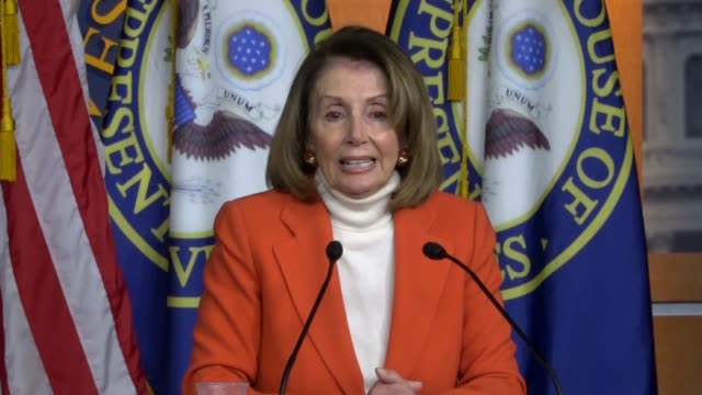 house minority leader nancy pelosi answers a reporter question about fiscal 2019 appropriations to say chairwoman nita lowey music to her ears and... - nancy pelosi stock videos and b-roll footage