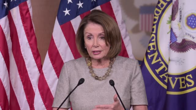 house minority leader nancy pelosi continues her criticism of the trump administration saying steve bannon is in charge and it's tragic that the... - scolding stock videos & royalty-free footage