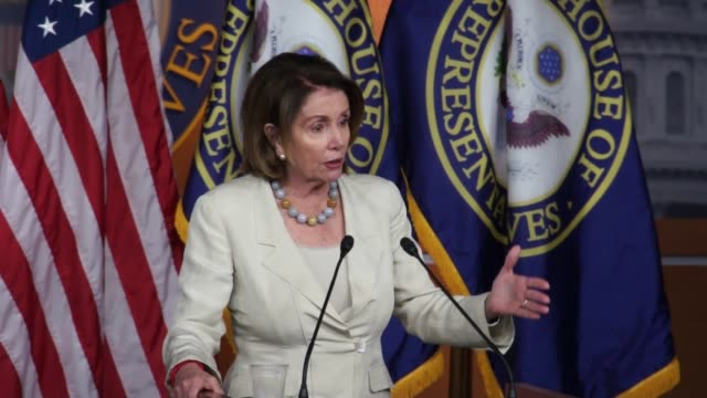 house minority leader nancy pelosi describes legislation offered by her party that if you have been convicted of a hate crime you should not be able... - nancy pelosi stock videos and b-roll footage