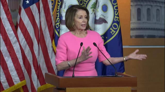 stockvideo's en b-roll-footage met house minority leader nancy pelosi enters and opens a press briefing by saying that we live in interesting times expressing concerns about trump... - mileubeschermingorganisatie