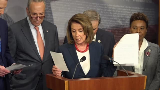 house minority leader nancy pelosi joins congressional democrats to discuss the fiscal 2018 budget and republicanled tax reform effort referring to a... - medicaid stock videos and b-roll footage