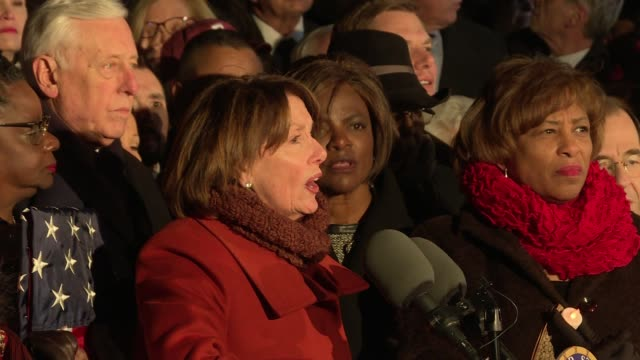 house minority leader nancy pelosi leads a protest on the steps of the us supreme court against the travel immigration refugee executive order... - nancy pelosi stock videos and b-roll footage