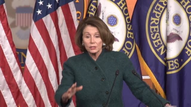 vídeos de stock, filmes e b-roll de house minority leader nancy pelosi of california answers a question about the endorsement of the congressional black caucus pac of hillary clinton... - primary election