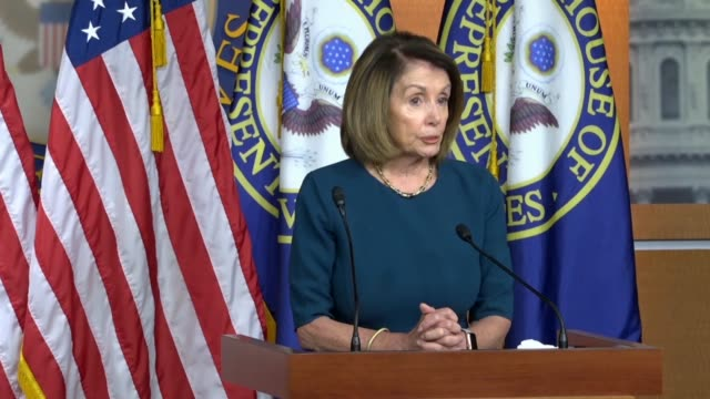 house minority leader nancy pelosi of california answers a reporter question at a weekly briefing that as a practicing catholic she had great sadness... - catholicism stock videos and b-roll footage