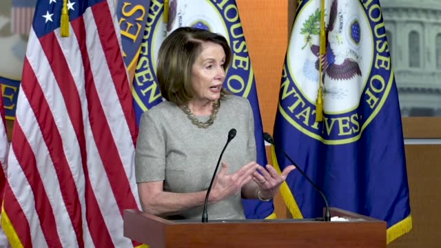 house minority leader nancy pelosi of california answers a reporter question about legal arrangements between lawyers for president donald trump and... - stormy daniels video bildbanksvideor och videomaterial från bakom kulisserna