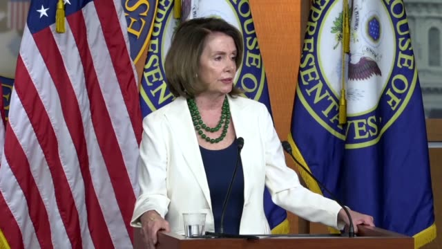 house minority leader nancy pelosi of california answers a reporter question at a weekly briefing about a special election in pennsylvania district... - nancy pelosi stock videos and b-roll footage