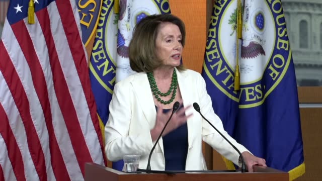 House Minority Leader Nancy Pelosi of California answers a reporter question at a weekly briefing about special elections ahead of the 2018 midterm...