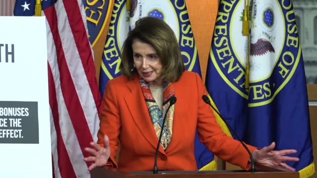 house minority leader nancy pelosi of california answers a reporter question at a weekly briefing about the gap between democrats and republicans on... - nancy pelosi stock videos and b-roll footage