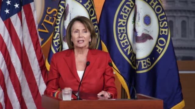 House Minority Leader Nancy Pelosi of California answers questions of reporters during a weekly briefing noting four months of no action on an...