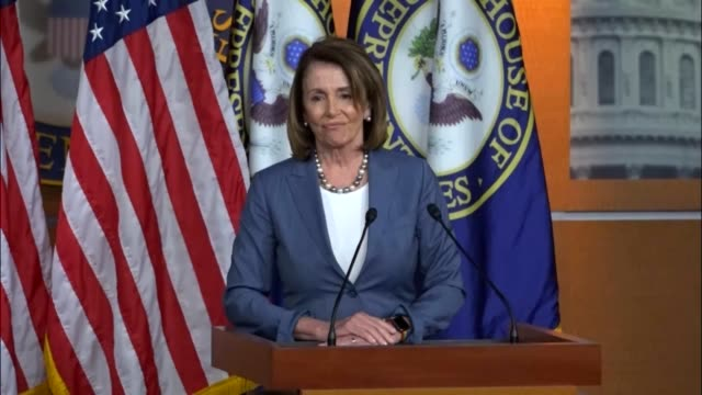 house minority leader nancy pelosi of california answers questions from reporters at a regular weekly press briefing regarding a threat of president... - nancy pelosi stock videos and b-roll footage