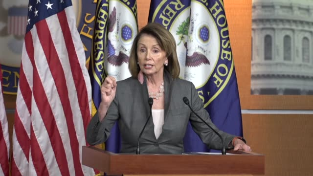 House Minority Leader Nancy Pelosi of California answers questions from the press at a news conference within an hour of an initial decertification...