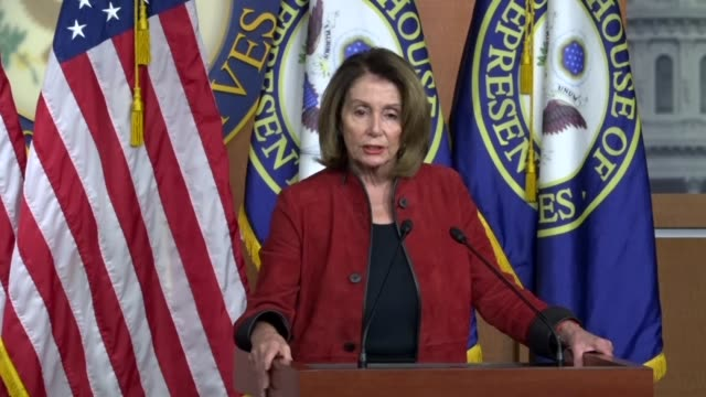 House Minority Leader Nancy Pelosi of California asks a reporter at a weekly briefing what happens if there is no deal on immigration and the...