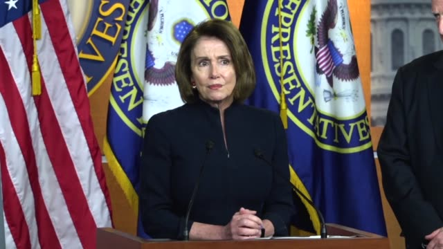 House Minority Leader Nancy Pelosi of California begins a press conference at a after a mass shooting at Marjory Stoneman Douglas High School in...