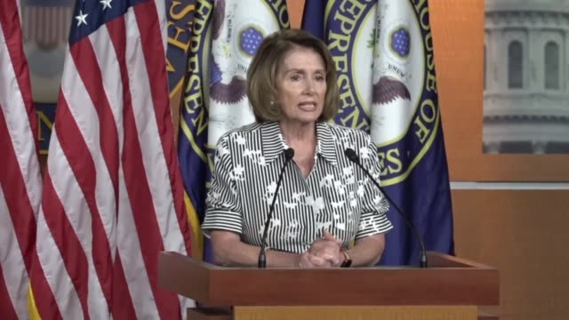 house minority leader nancy pelosi of california begins a press conference by telling reporters that as the house leaves for an august recess they... - nancy pelosi stock videos and b-roll footage