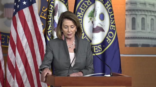 house minority leader nancy pelosi of california, conducts a news conference within an hour of a major policy announcement by president donald trump... - verification stock videos & royalty-free footage