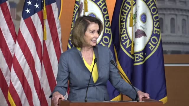 house minority leader nancy pelosi of california conducts a weekly briefing with reporters as the american health care act was under negotiation... - nancy pelosi stock videos and b-roll footage