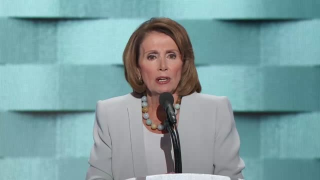 House Minority Leader Nancy Pelosi of California discusses the importance of the election at the convention telling delegates that this is a fight...