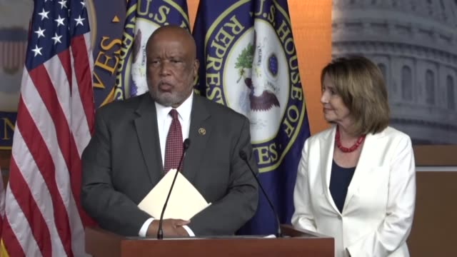 house minority leader nancy pelosi of california fields questions from reporters at a weekly briefing alongside house homeland security committee... - nancy pelosi stock videos and b-roll footage