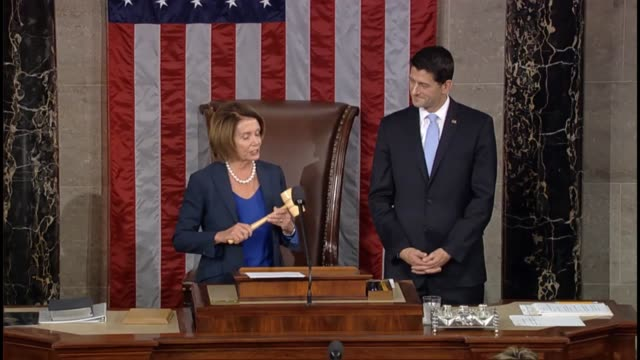 house minority leader nancy pelosi of california introduces congressman paul ryan of wisconsin hands him the gavel standing ovation from the house... - gavel stock videos & royalty-free footage