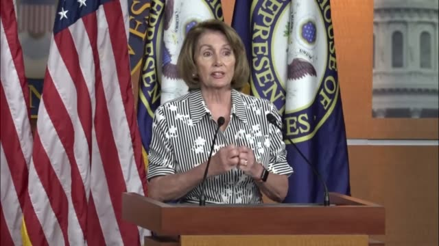 house minority leader nancy pelosi of california is asked about a policy of the department of justice under attorney general jeff sessions of no... - nancy pelosi stock videos and b-roll footage