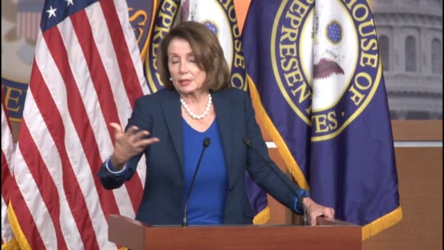 house minority leader nancy pelosi of california is asked at a weekly briefing about how congress and the federal government should respond to the... - politics and government stock videos & royalty-free footage