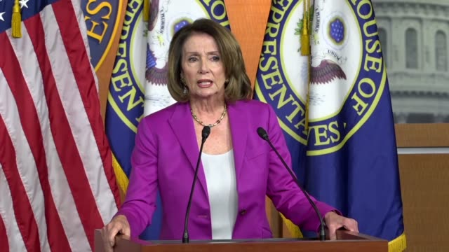 house minority leader nancy pelosi of california is asked leaving a weekly press briefing about seeking a military authorization on syria that... - nancy pelosi stock videos and b-roll footage