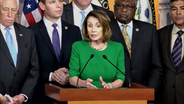 house minority leader nancy pelosi of california is joined by members of the caucus in the house studio for a press briefing minutes after... - nancy pelosi stock videos and b-roll footage