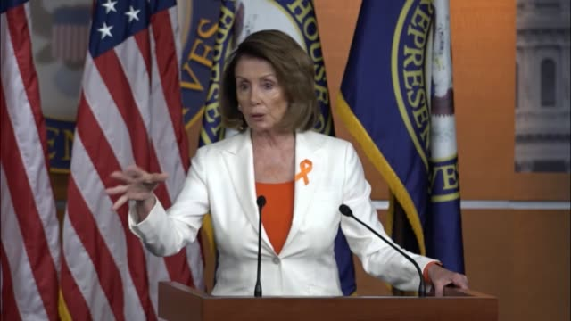 House Minority Leader Nancy Pelosi of California is questioned at a briefing the day after President Donald Trump pulled the United States out of the...