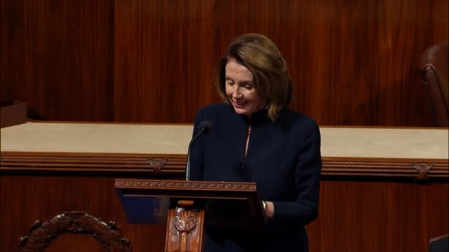 House Minority Leader Nancy Pelosi of California participates in debate on a resolution mandating sexual harassment training for all who work in the...
