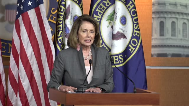house minority leader nancy pelosi of california questions the legality of a determination by the trump administration in discontinuing costsharing... - nancy pelosi stock videos and b-roll footage