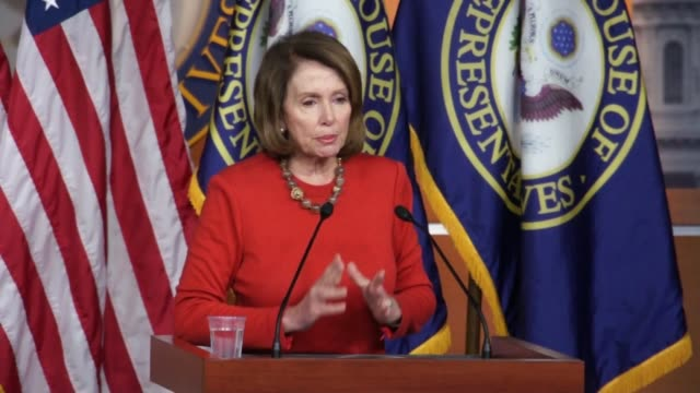 house minority leader nancy pelosi of california responds to a reporter question about legislating on the debt crisis in puerto rico by saying she... - five cent coin stock videos & royalty-free footage