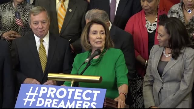 house minority leader nancy pelosi of california says a day after the trump administration announced a sixmonth delay on canceling the deferred... - nancy pelosi stock videos and b-roll footage