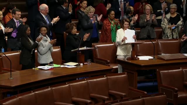 house minority leader nancy pelosi of california says after the longest floor speech in the house in 109 years that for the last eight hours she had... - house of representatives stock videos & royalty-free footage