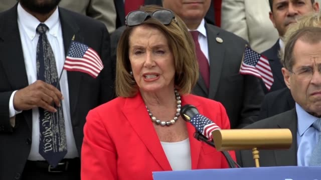 house minority leader nancy pelosi of california says at a news conference at the east front of the capitol on immigrant family separation that... - biblical event stock videos & royalty-free footage