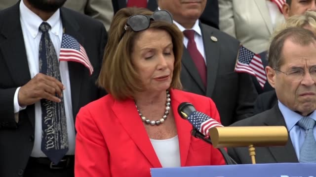 house minority leader nancy pelosi of california says at a news conference at the east front of the capitol on immigrant family separation that the... - religiöse darstellung stock-videos und b-roll-filmmaterial