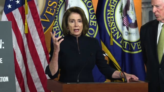 House Minority Leader Nancy Pelosi of California says at a press conference that Republicans had put forth a trifecta of giving tax cuts to corporate...