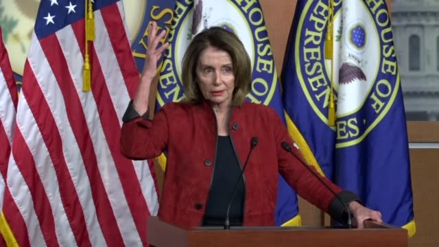 house minority leader nancy pelosi of california says at a weekly press briefing that there must be clarity against billionaire republicans... - nancy pelosi stock videos and b-roll footage