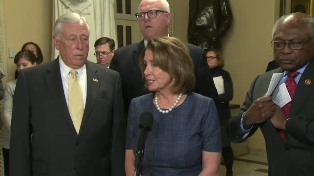 house minority leader nancy pelosi of california says before the house votes on reconciling differences between house and senate tax reform bills,... - 米民主党点の映像素材/bロール