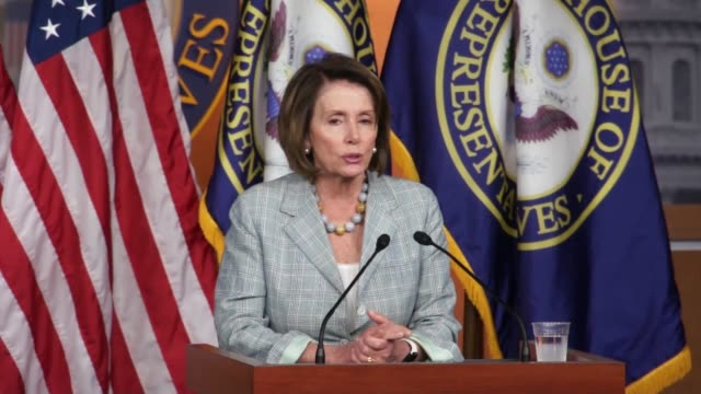 house minority leader nancy pelosi of california speaks to reporters hours after ending a daylong sitin on the house floor she cannot contain her... - nancy pelosi stock videos and b-roll footage