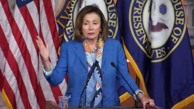 house minority leader nancy pelosi of california takes questions from reporters during a weekly press briefing asked about remarks that morning by... - riff stock videos & royalty-free footage